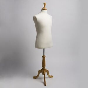 New Dress Jersey Form Male Cream White W Natural Tripod Wooden Base Mannequin