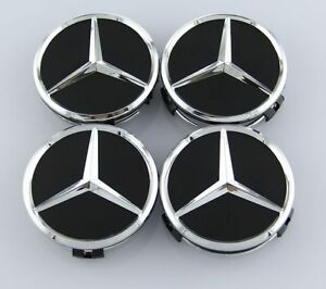 Mercedes Set Of Four Black Chrome Center Wheel Hub Caps 75mm Cover Emblem Cap