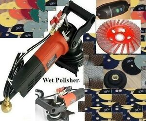 5 Variable Speed Concrete Cement Wet Polisher Grinder Polishing 12 Pad 2 Cup