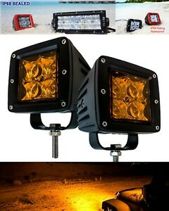 Amber 4d Pod Spot Beam Lens Led Yellow Light Fog Dust Snow Race Atv Offroad Cube