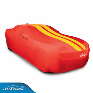 Coverking Satin Stretch Indoor Car Cover Red With Yellow Stripes 2010 15 Camaro
