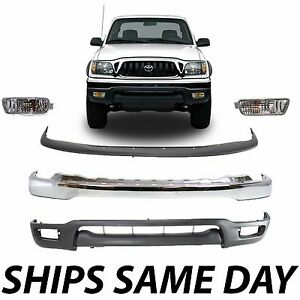 New Complete Front Bumper Combo Kit W Lower Lights For 2001 2004 Toyota Tacoma