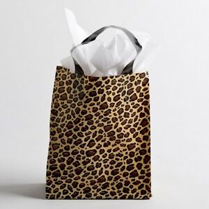 8 x10 Medium Leopard Print Plastic Retail Merchandise Shopping Gift Frosty Bags