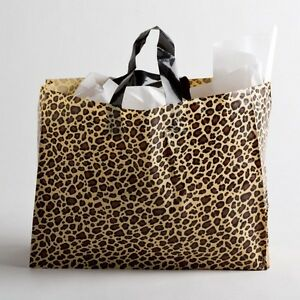 16 x12 Large Leopard Print Plastic Retail Merchandise Shopping Gift Frosty Bags