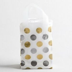 5x7 Small Silver Gold Polka Dot Plastic Merchandise Shopping Gift Frosty Bags