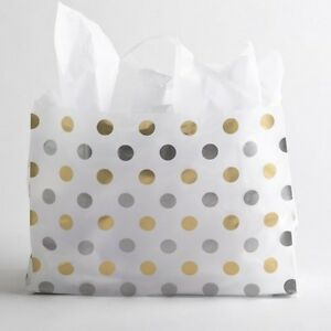 16x12 Large Silver Gold Polka Dot Plastic Merchandise Shopping Gift Frosty Bag