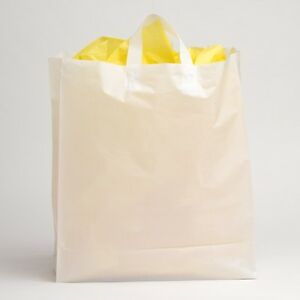 16 x18 Jumbo White Plastic Retail Merchandise Shopping Gift Frosty Bags