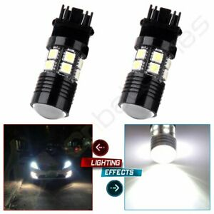 2pc 3157 4114 4157 Led Drl Driving Daytime Running Light Bulbs 12smd 6000k White