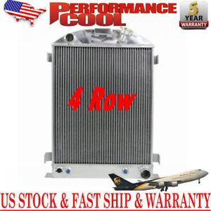 4 Row Core Aluminum Radiator For 1937 1938 Ford Model A Chevy V8 Engine W Cooler