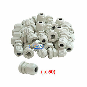 Durable Waterproof White Nylon Cable Connector Gland Dia 13 18mm Pg21 50 Pcs