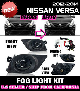 For Nissan Versa Sedan 12 13 14 Fog Light Driving Lamp Kit Switch Wiring