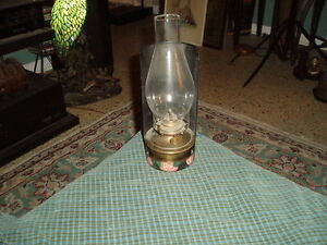 Vintage Painted Metal Tole Brass Oil Lamp Wall Pocket Wall Sconce Rare