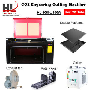 100w Laser Cutter Engraving Machine cw5000 Chiller 400mm Lift linear Guide Eu us