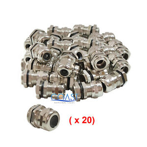 Durable Waterproof Nickel Plated Cable Connector Gland Dia 12 15mm Pg19 20 Pcs