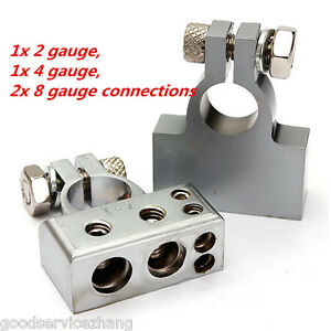 Pair Silver Tone Car Postive Negative Battery Terminals Clamp 2 8 Gauge