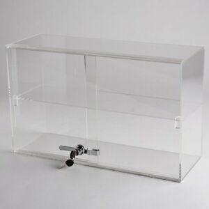 Horizontal Acrylic Display Case Countertop Locking Jewelry Plexiglass 1 Shelf