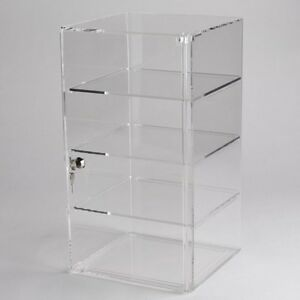 New Vertical Acrylic Counter Top Locking Jewelry Display Case 3 Shelves