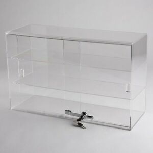 Horizontal Acrylic Display Case Countertop Locking Jewelry Plexiglass 2 Shelves