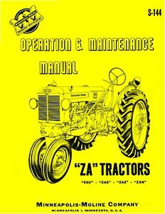 Minneapolis Moline Za Tractor Operation Maintenance Manual Reproduction