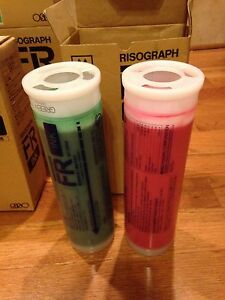 3 Green Risograph Fr Ink Cartridges S 2744 In Box 3 Red S 2749