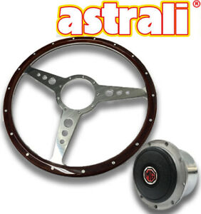 Mg Midget And Mgb 14 Astrali Wood And Alloy Steering Wheel With Polished Hub