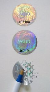 500 Customized High Security Hologram Label Tamper Proof 1 Guilloche Stickers