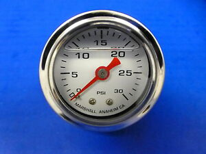 Marshall Gauge 0 30 Psi Fuel Pressure Oil Pressure White 1 5 Diameter Liquid