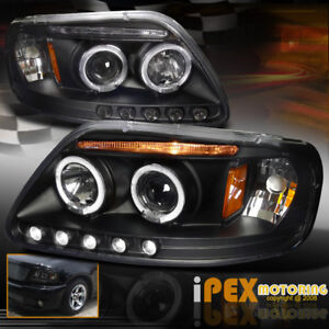 1997 2003 Ford F150 97 02 Expedition Dual Halo Projector Led Headlights Black