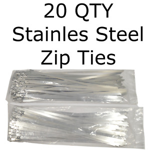 20 Stainless Steel 14 Cable Zip Ties Metal Self Locking Straps Exhaust Bands