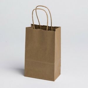 5 X 8 Small Paper Kraft Retail Merchandise Shopping Gift Bags W Handles 100 Pcs