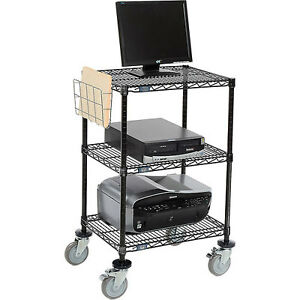 Nexel 3 shelf Mobile Wire Printer Stand With Document Holder 24 w X 18 d X 4