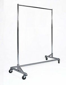 Heavy Duty Single Bar Rolling Z Rack Clothing Garment Clothes W 10 Extensions