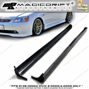 For 01 05 Honda Civic 2dr 4dr Type a Rs Style Side Skirts Skirt Poly Urethane