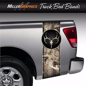 Buck Deer Skull Camo obliteration Truck Bed Band Stripe Decal Graphic