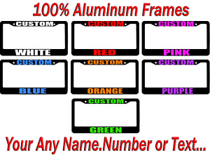 Custom Personalized License Plate Frame Color Choice Black