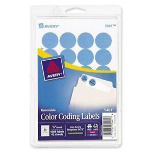 10 080 Avery Labels Light Blue 3 4 Round Color Coded Inventory Stickers Dots