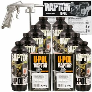 U pol Raptor Black Truck Bed Liner Kit W Spray Gun 8l 2 Box Upol