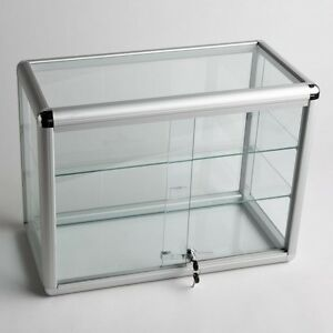 Glass Counter Top Aluminum Frame Locking Jewelry Display Case W 2 Shelves Adc 2
