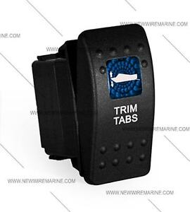 Labeled Marine Contura Ii Rocker Switch Carling Lighted Trim Tabs blue Lens