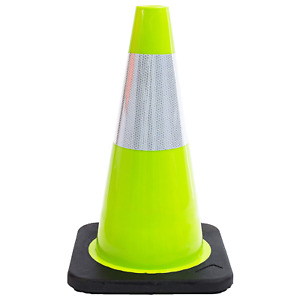 18 Rk Lime Safety Traffic Pvc Cones Black Base W 1 Reflective Tape 12 Pack