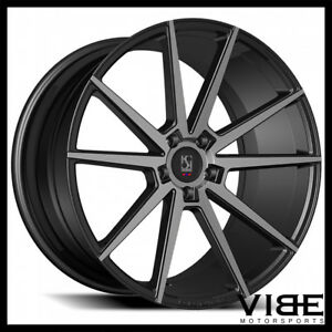 24 Koko Kuture Le Mans Smoked Concave Wheels Rims Fits Dodge Charger Rt Se Srt8