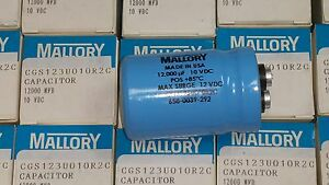 Mallory 12000uf 10v Large Can Electrolytic Capacitor Cgs123u010r2c New Dp1