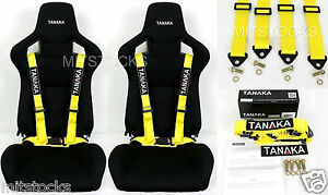 2 X Tanaka Universal Yellow 4 Point Buckle Racing Seat Belt Harness 2