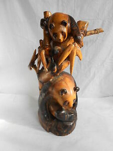 Vintage Chinese Camphor Wood Two Panda Hand Carved Figurine Statue