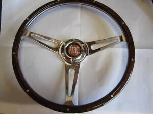 Fiat 124 Spider Wood Steering Wheel 380mm 1979 1985 Red Fiat Horn Button Dark