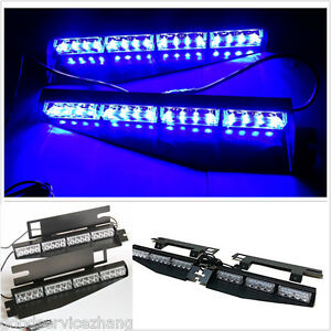 Blue 32led Car Dash Strobe Lights Flash Emergency Police Warning Safety Lamp