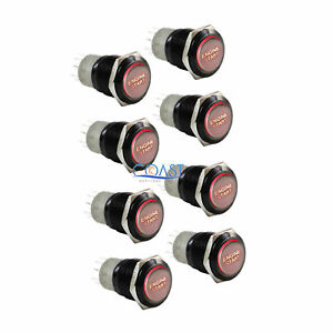 8x Durable 12v Red Led 16mm Black Momentary Engine Start Push Button Switch