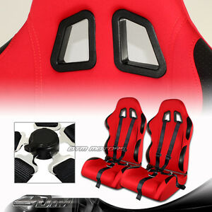 2x Black Red Cloth Reclinable Racing Seats Red 5 Point Seat Belt Universal 5