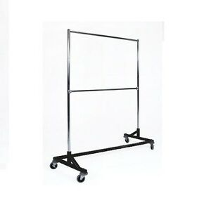 5 Ft Black Commercial Double Rail Rolling Z Rack Clothing Garment Clothes Racks