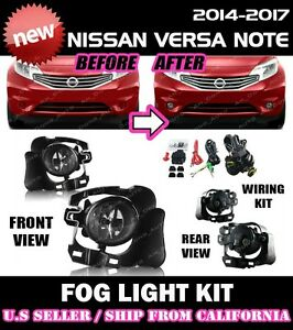 For Nissan Versa Note 14 15 16 Fog Lights Lamp Kit W switch Wiring clear